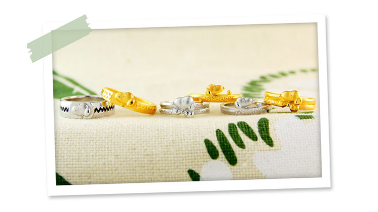 史努比戒指採用黃金與純銀讓粉絲選擇自己喜歡的材質