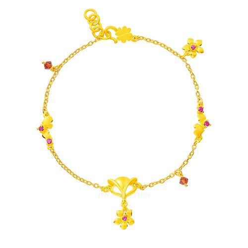 狐狸黃金手鍊搭配愛心與花朵為你招來好桃花