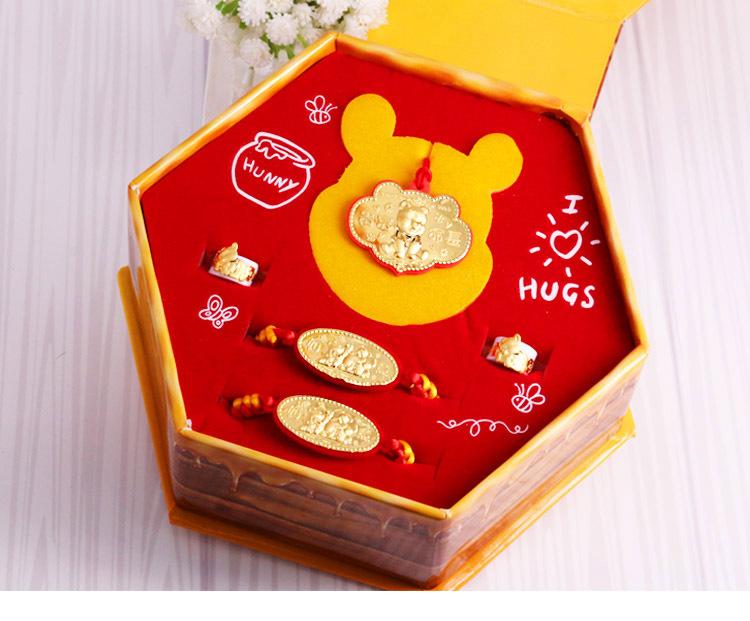 維尼彌月黃金禮盒-小熊維尼款彌月五件組(0.30錢)