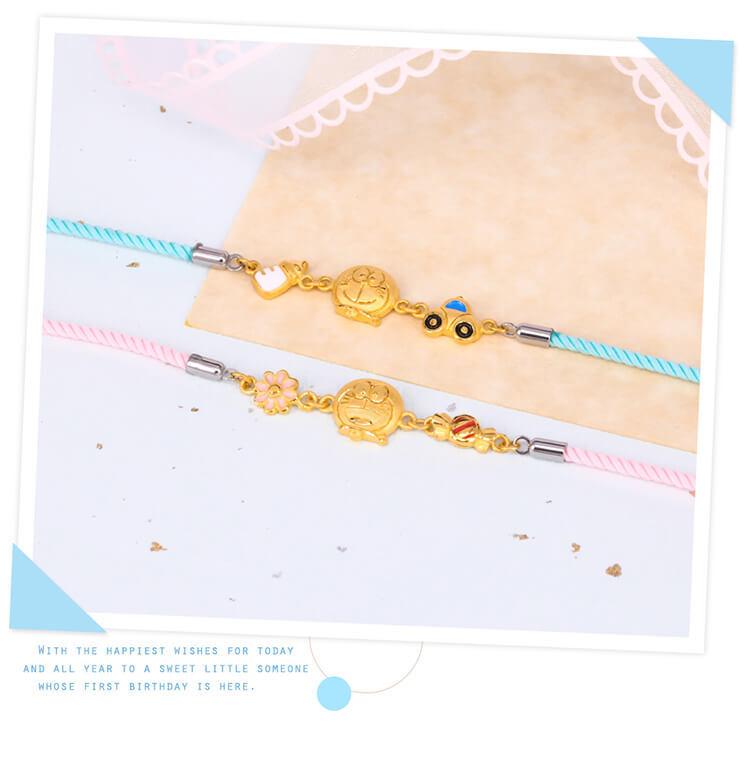 哆啦A夢彌月禮盒黃金手鍊可愛活潑適合送禮