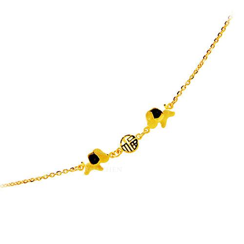 狗年黃金手鍊小孩版也能作為彌月金飾手鍊 可愛的設計適合各年齡小朋友