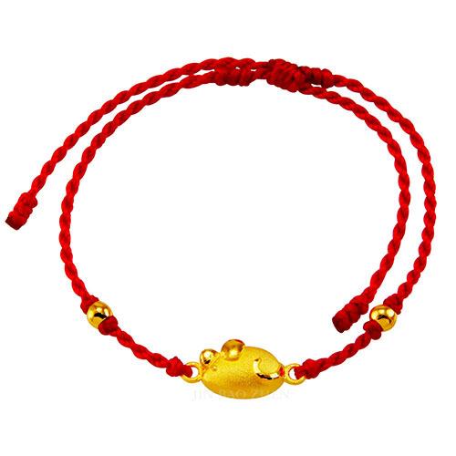 12生肖鼠黃金手鍊搭配編織繩平價入手招好運
