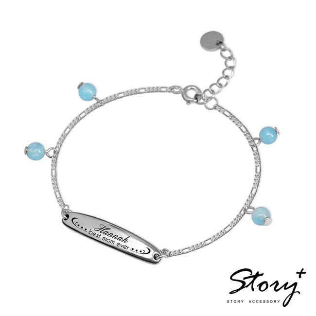 親子銀飾手鍊搭配天然海藍寶增添活潑感